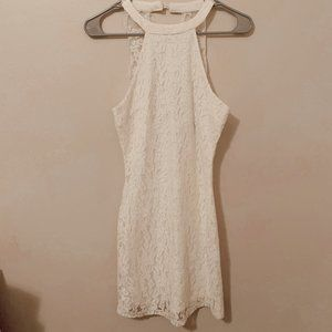 white mini lace dress